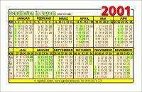 Kalenderkarte / Taschenkalender mit Schulferien 2001 Bayern