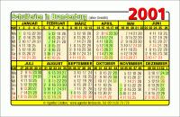 Kalenderkarte / Taschenkalender mit Schulferien 2001 Brandenburg
