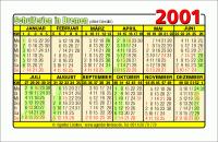 Kalenderkarte / Taschenkalender mit Schulferien 2001 Bremen