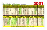 Kalenderkarte / Taschenkalender mit Schulferien 2001 Hamburg