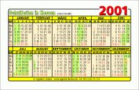 Kalenderkarte / Taschenkalender mit Schulferien 2001 Hessen