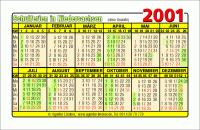 Kalenderkarte / Taschenkalender mit Schulferien 2001 Niedersachsen