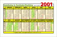 Kalenderkarte / Taschenkalender mit Schulferien 2001 Nordrhein-Westfalen