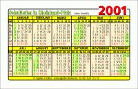 Kalenderkarte / Taschenkalender mit Schulferien 2001 Rheinland-Pfalz
