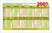 Kalenderkarte / Taschenkalender mit Schulferien 2001 Sachsen