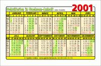 Kalenderkarte / Taschenkalender mit Schulferien 2001 Sachsen-Anhalt