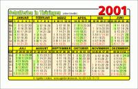 Kalenderkarte / Taschenkalender mit Schulferien 2001 Thüringen