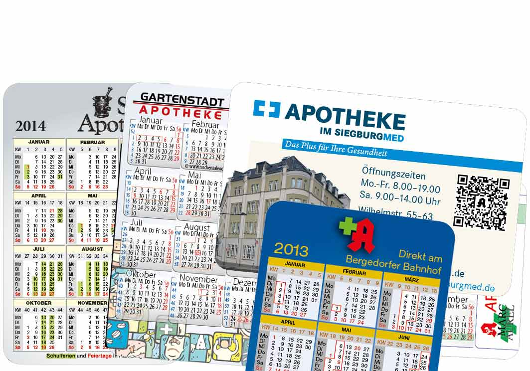 Apotheken-Taschenkalender im Scheckkartenformat