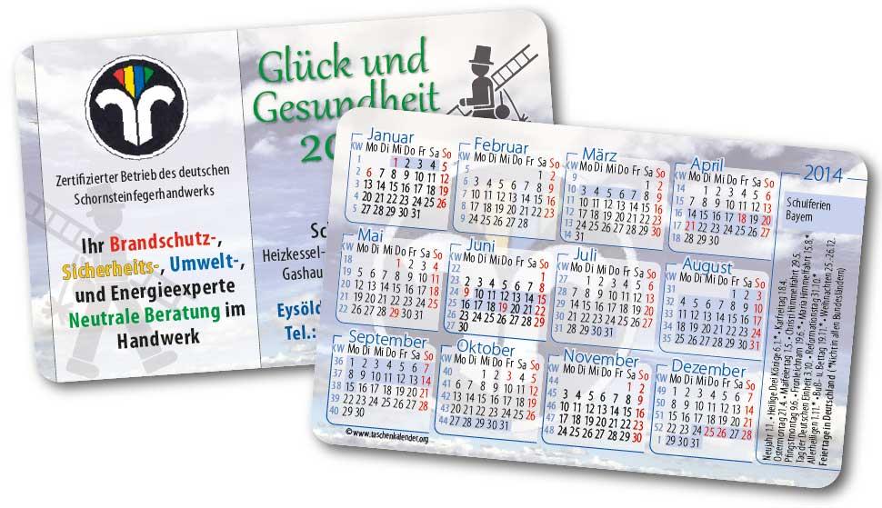 Abbildung eines Taschenkalenders im Scheckkartenformat vom Schornsteinfeger, Kalender, Taschenkalender