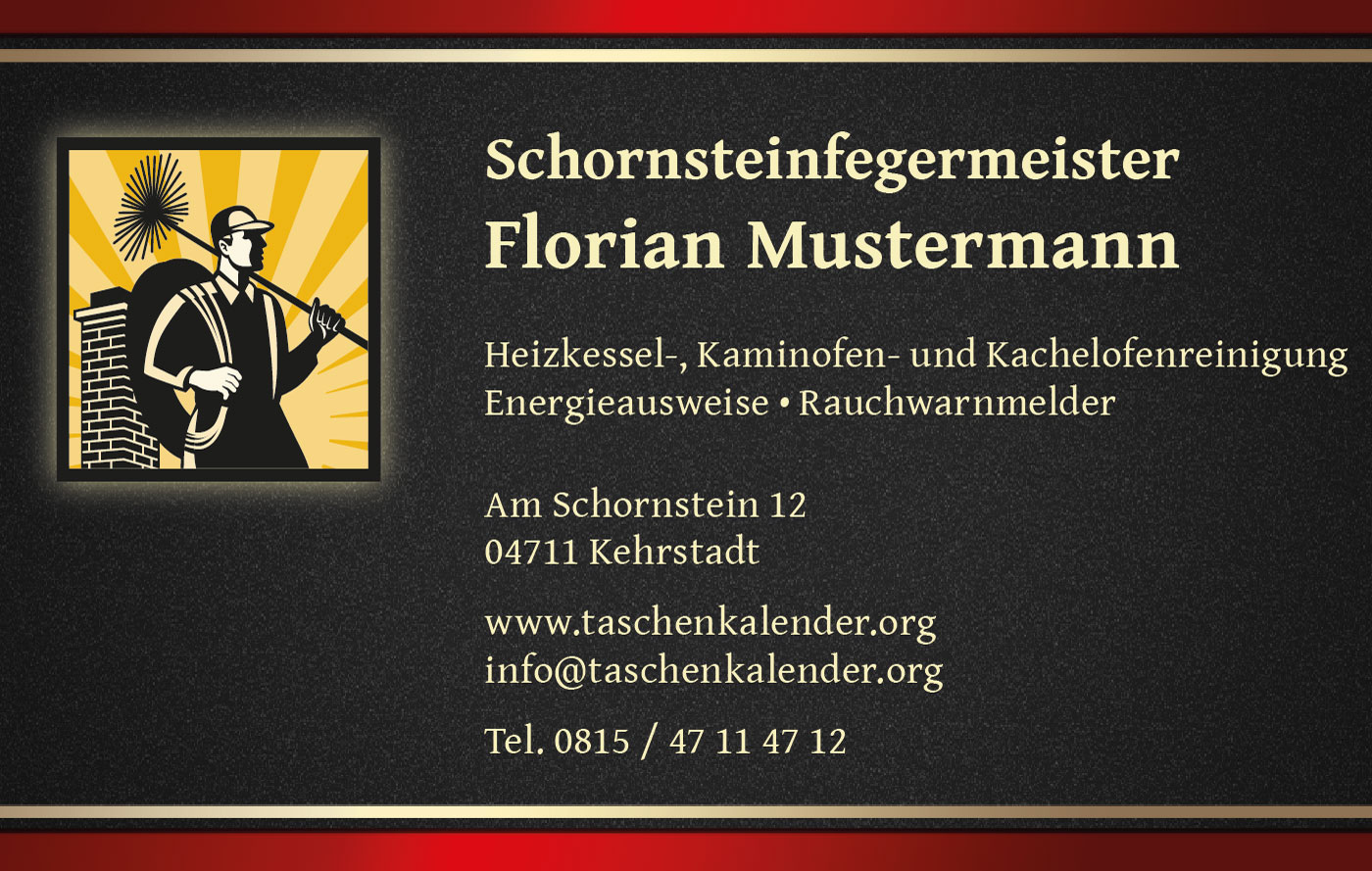 Schornsteinfeger Visitenkarten Design Gestaltung
