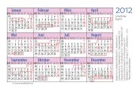 """Taschenkalender 2012 """"House Style"""" mit umrandeten Monaten, regionalen Feiertagen und Schulferien von Bayern sowie Feiertagen in Deutschland"""