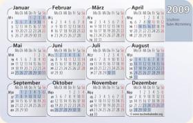 Kalenderkarte / Taschenkalender mit Schulferien 2009 Baden-Württemberg