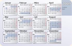 Kalenderkarte / Taschenkalender mit Schulferien 2009 Bayern