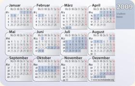 Kalenderkarte / Taschenkalender mit Schulferien 2009 Bremen