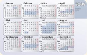 Kalenderkarte / Taschenkalender mit Schulferien in Sachsen 2009