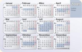 Kalender 2009 mit Schulferien in Thüringen