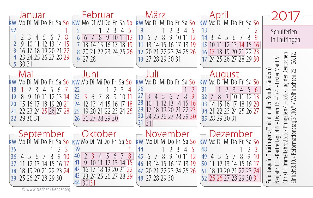 2017 Schulferien Thüringen Jahreskalender