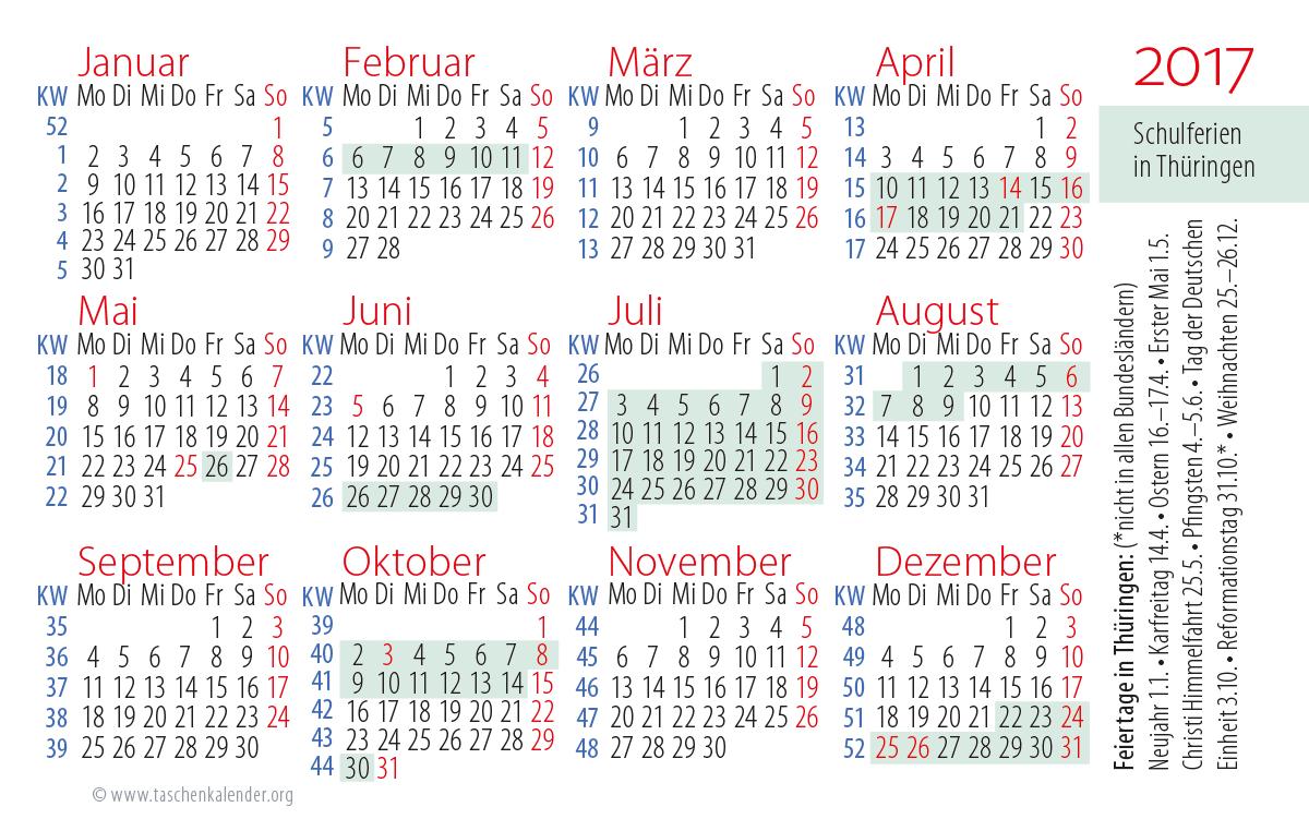 2017 Jahreskalender Schulferien
