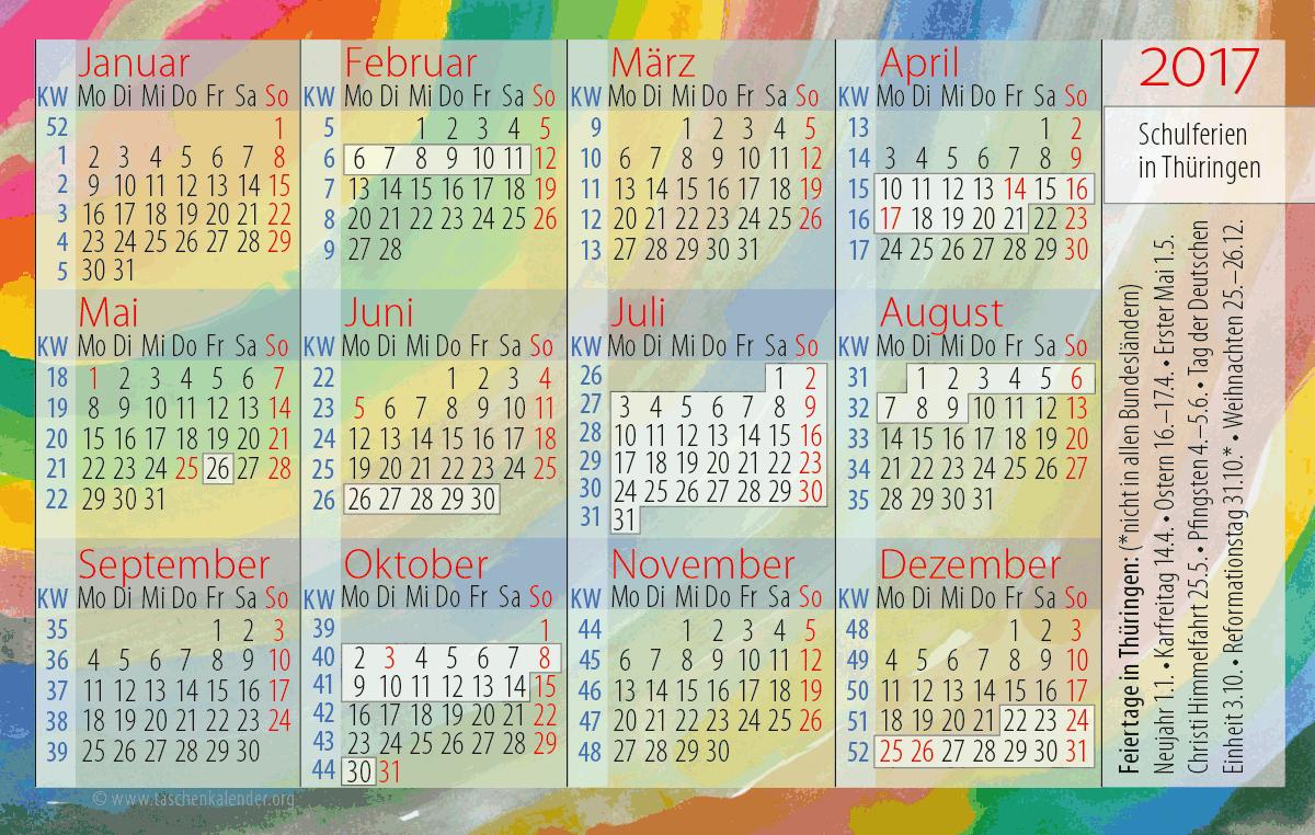 Taschenkalender 2017 Schulferien