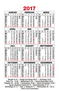 Taschenkalender 2017 Tradition