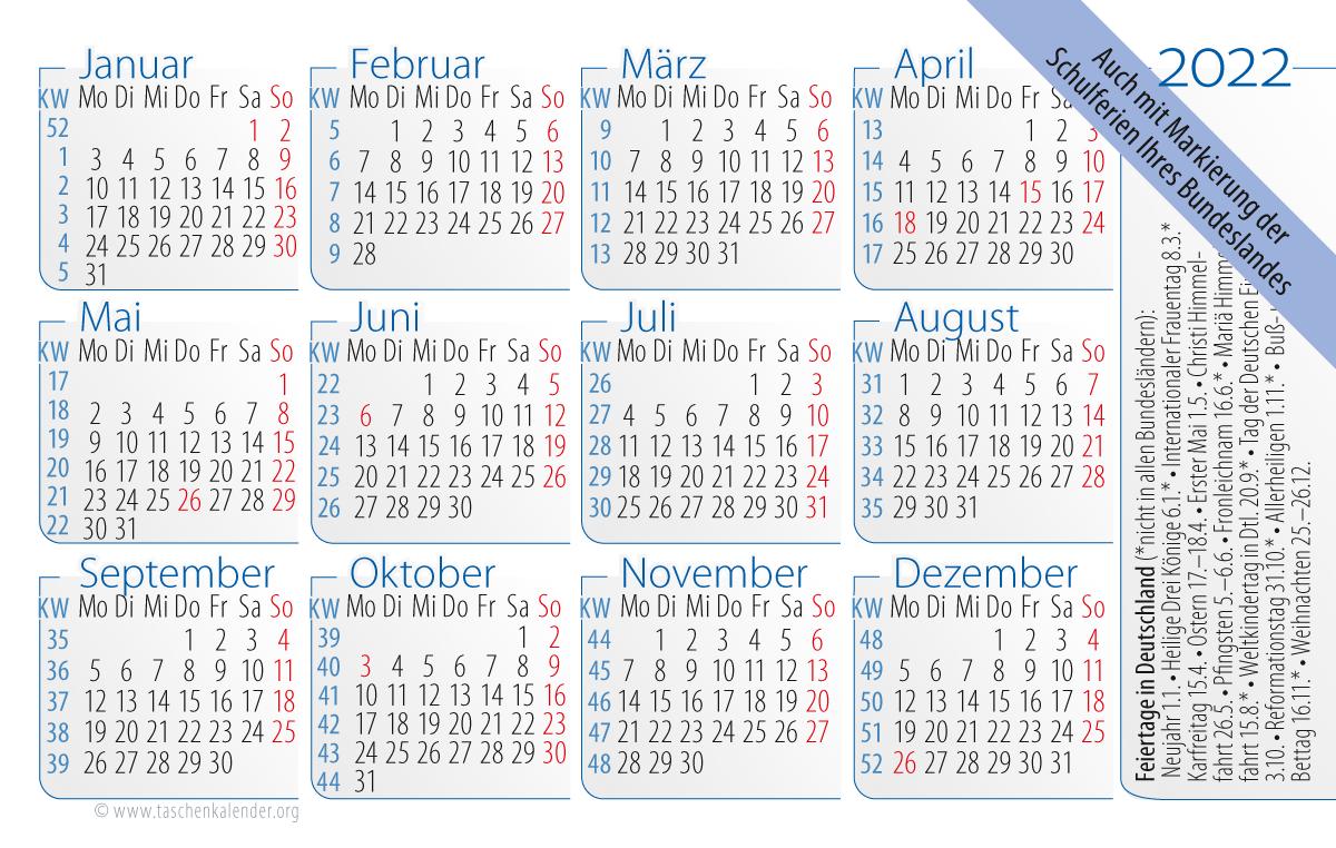 """Abbildung unseres kostenlosen Jahreskalendariums """"House Style"""" auf Taschenkalender 2022 mit Feiertagen in Deutschland (neu)"""