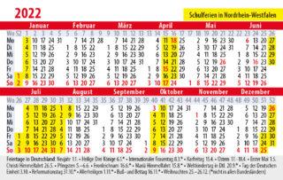 Kalender 2022 mit Feiertagen und Schulferien Nordrhein-Westfalen