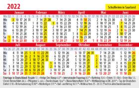 Kalender 2022 mit Feiertagen und Schulferien Saarland